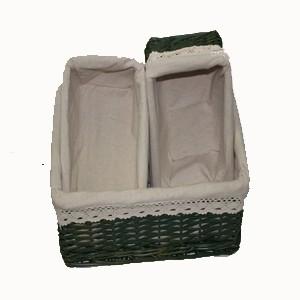 Juego de 3 cestas de mimbre forradas en tela una grande y - Cestas de mimbre pequenas ...