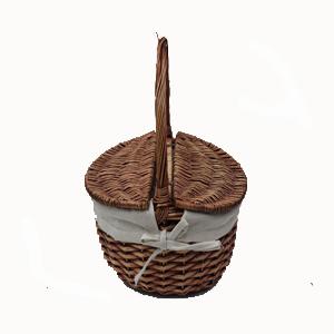 Cesta de mimbre con tapa y asa - Como forrar una cesta de mimbre ...