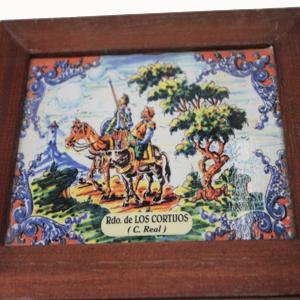 Dibujo caja de madera D. Quijote y Sancho