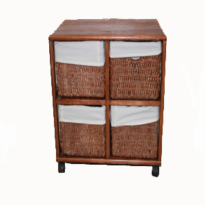 Mueble de madera con cajones de mimbre for Muebles con cajones de madera