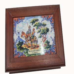 Tapa caja de madera D. Quijote y Sancho