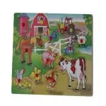 Puzzle infantil piezas de madera animales de la granja